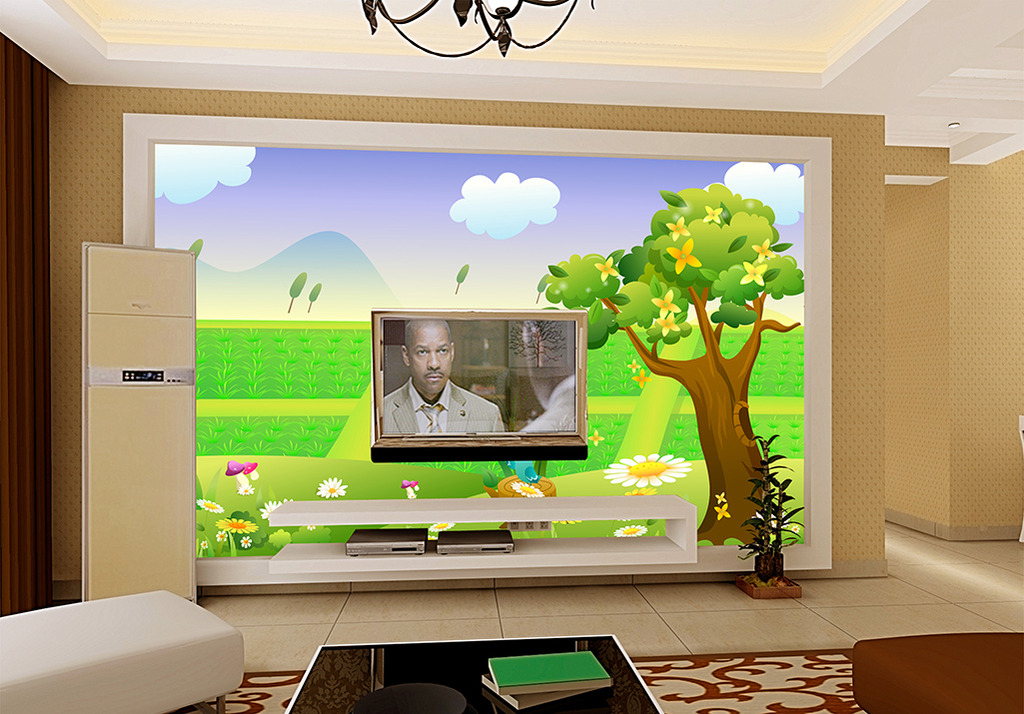 卡通稻田风景电视背景墙
