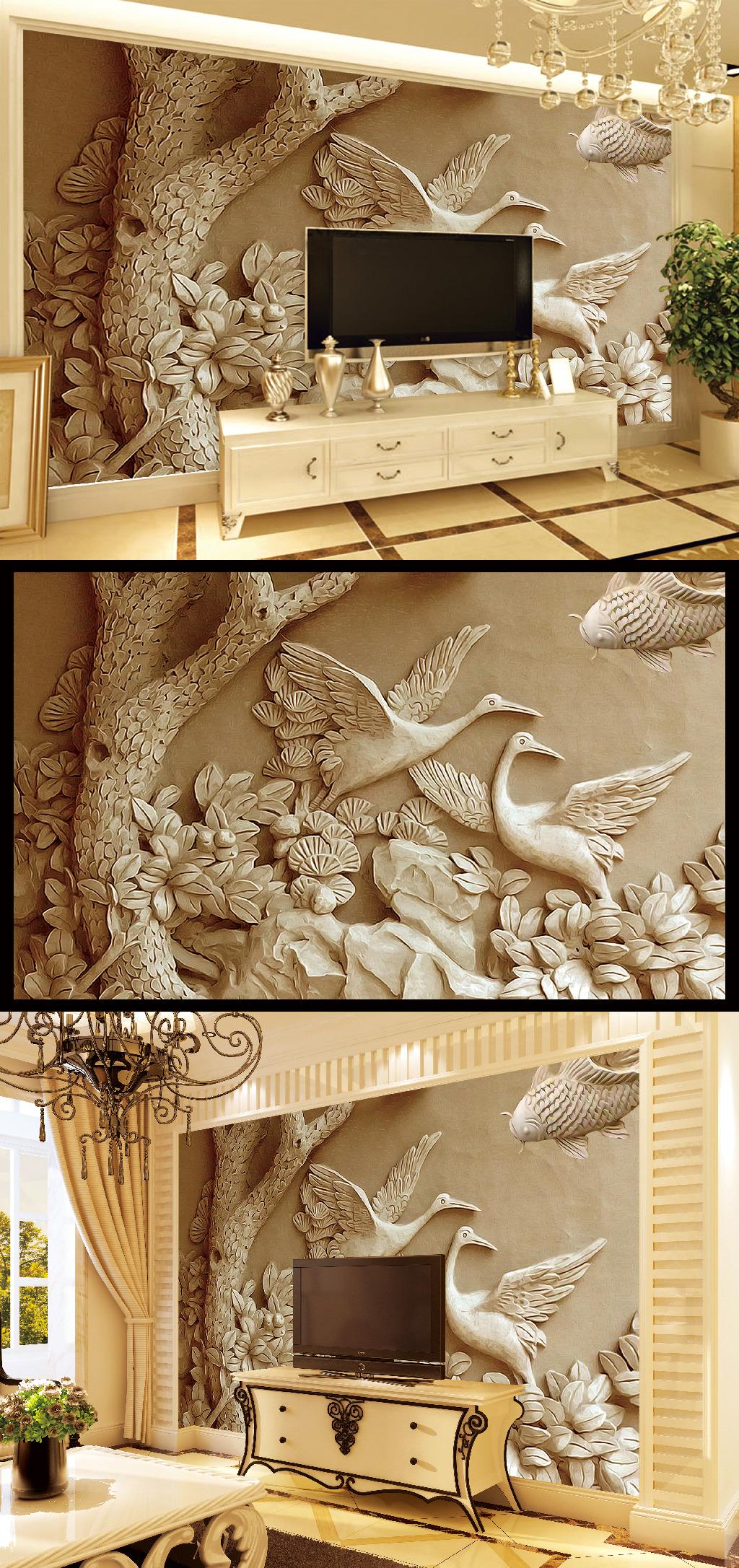 背景墙|装饰画 壁画 浮雕壁画 > 高清木雕松鹤展翅背景墙壁画  原创正