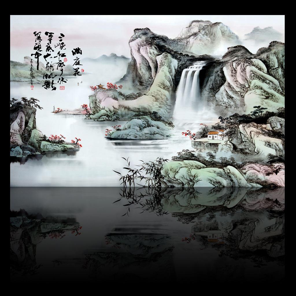 山水画艺术玻璃背景墙