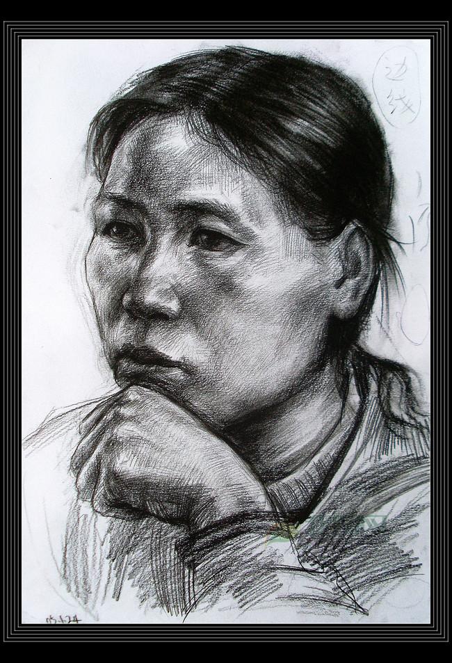 头像素描炭笔画铅笔画高考素描