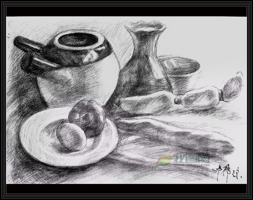 静物素描炭笔画铅笔画黑白画