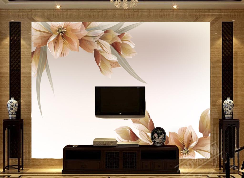 电视客厅沙发背景墙瓷砖背景墙梦幻花朵