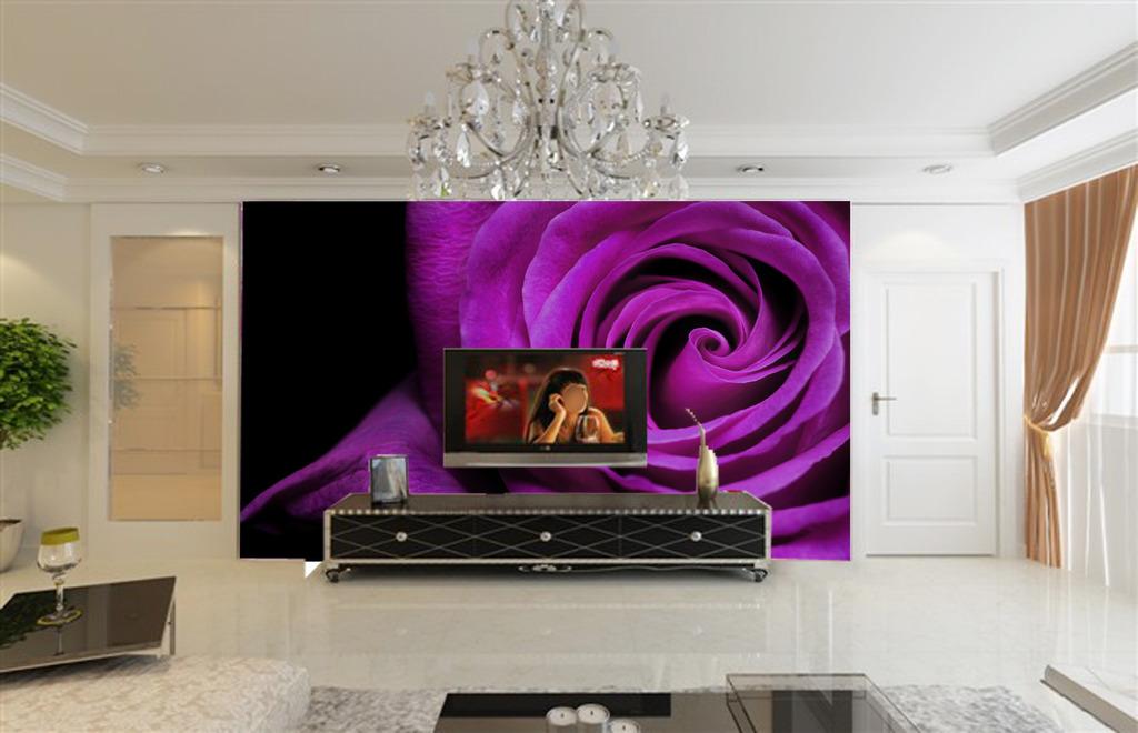 客厅电视机背景墙紫色玫瑰花