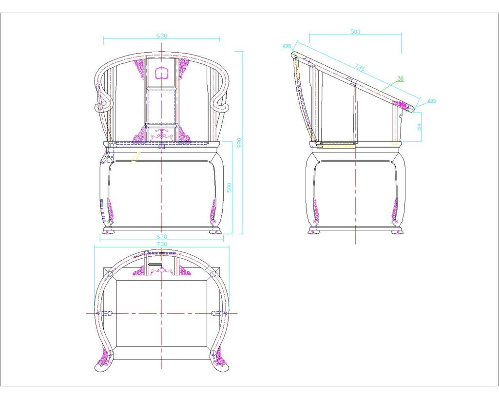 室内设计 cad图库 家具cad图纸 > 明清古典中式红木皇宫椅圈椅茶几