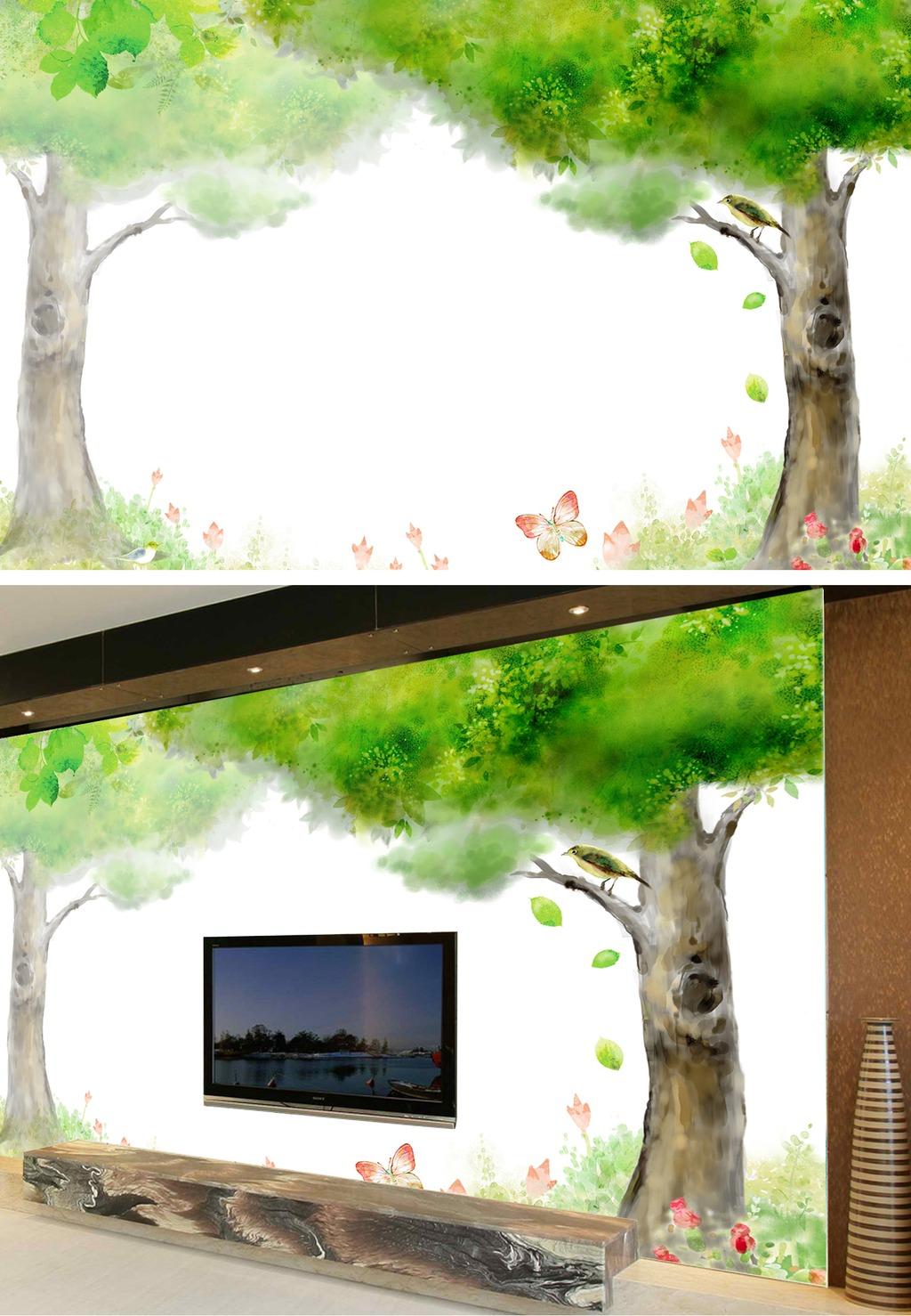手绘树时尚电视背景墙装饰画高清图片下载(图片编号)