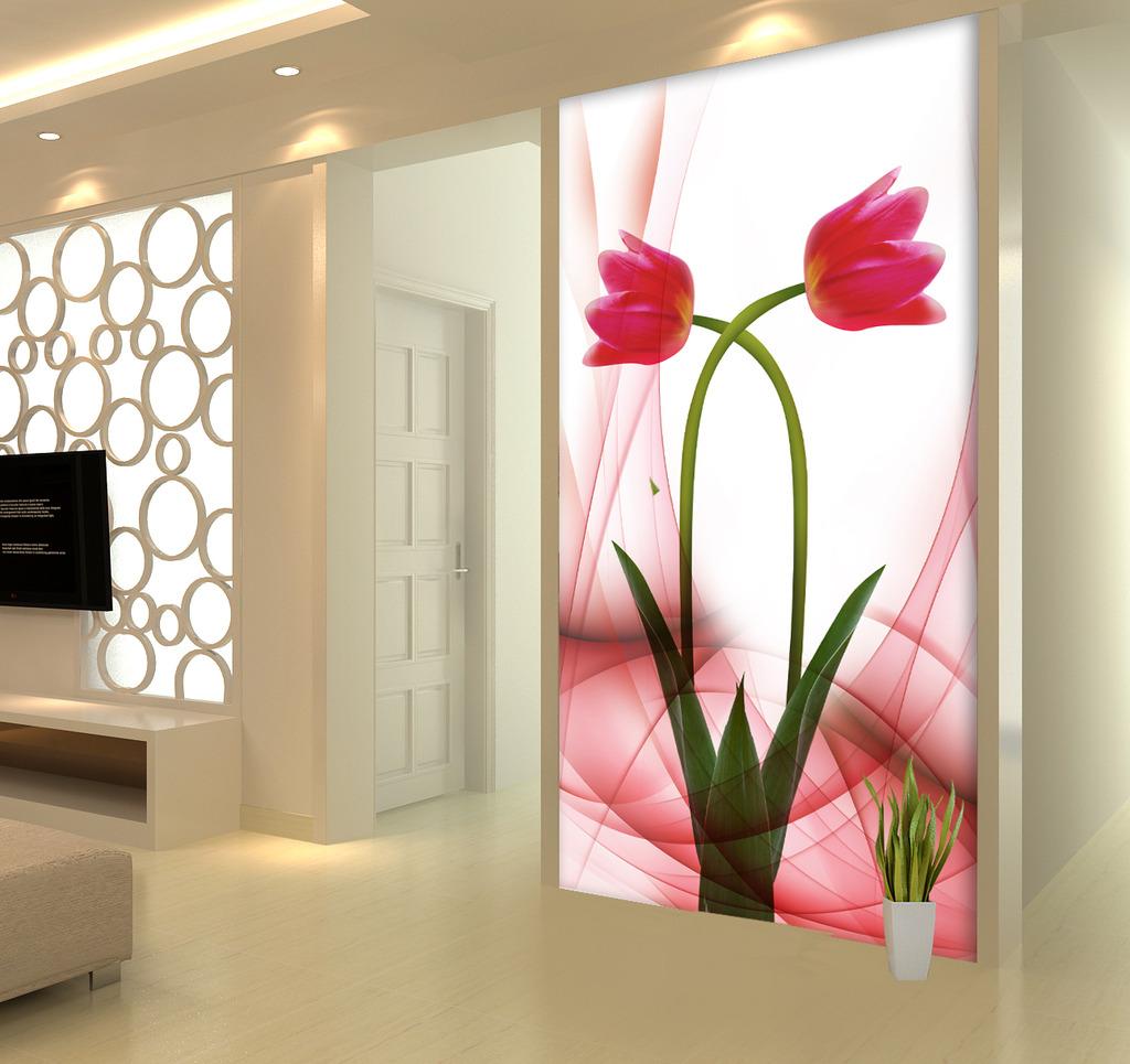 手绘花卉花朵玄关门厅背景墙