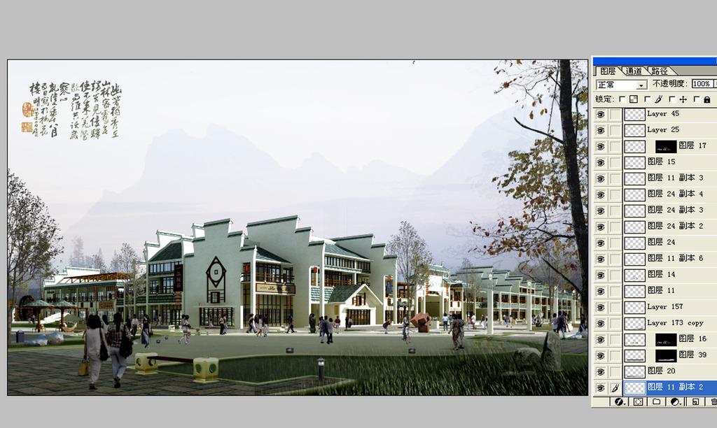 中式仿古建筑效果图 中式建筑外观效果图 中式建筑商业设计图 沿街