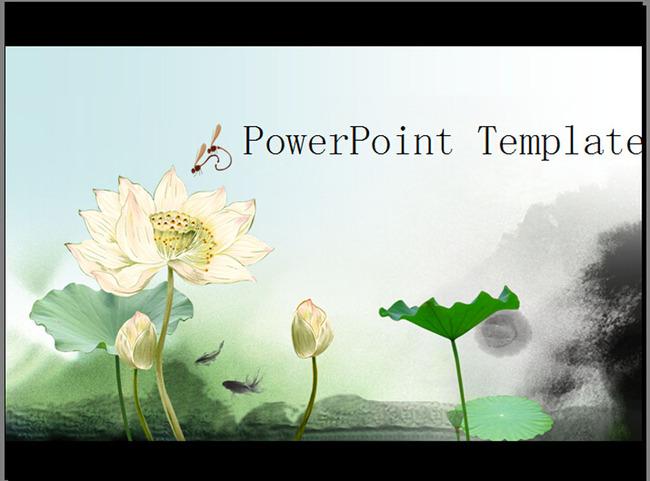 中国风荷花ppt通用模板模板下载(图片编号:12718272)