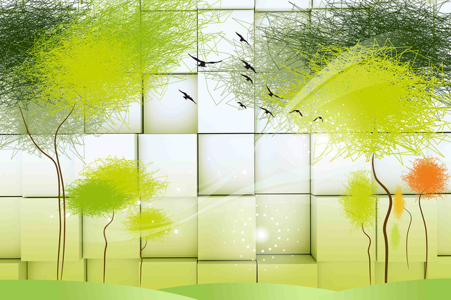 3d抽象树木立体方块白色背景墙高清大图