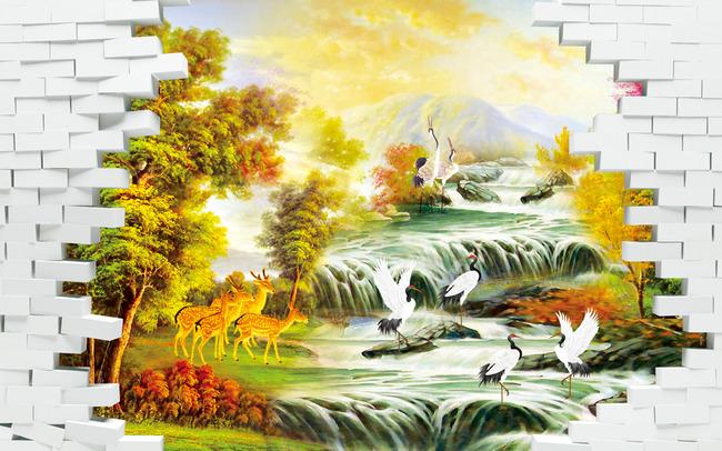 山水风景3d立体砖墙背景墙图片