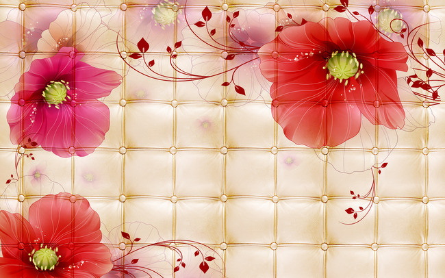 3d大红花立体墙背景图高清大图素材模版