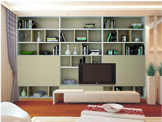 欧式电视背景墙 > 电视背景墙大型壁画书桌书柜书架