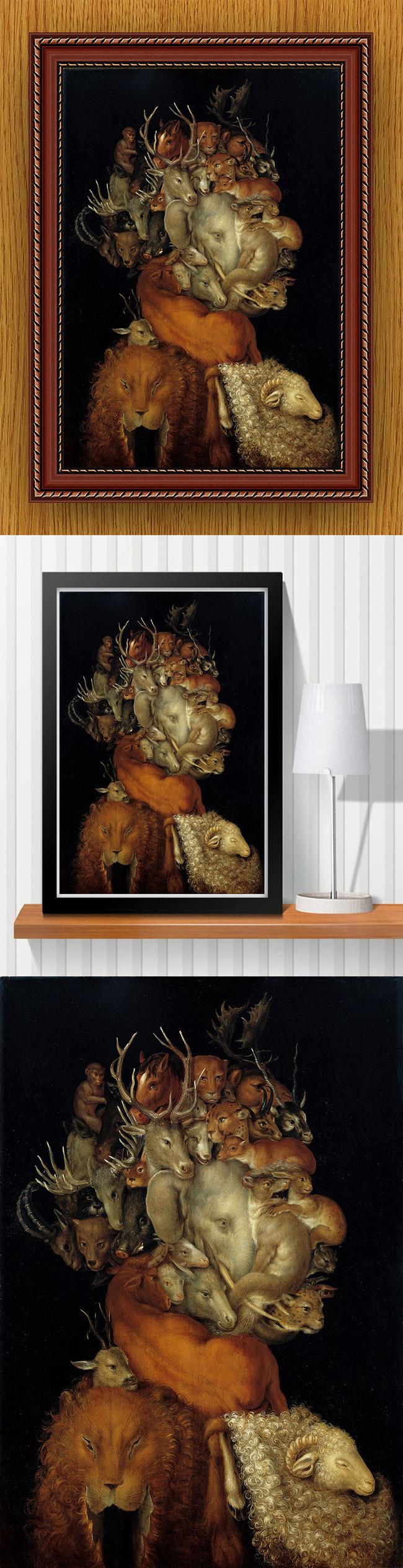 下载高清手绘现代风格抽象 超现实 细腻风格 动物 人像 头像 长方形