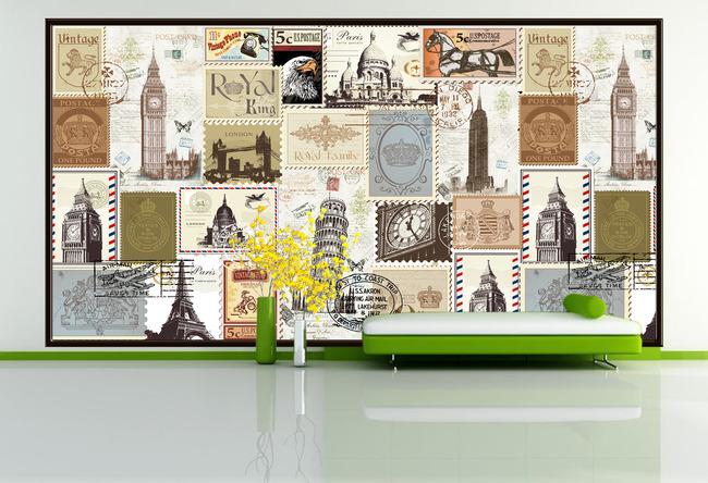 背景墙|装饰画 电视背景墙 欧式电视背景墙 > 手绘欧式建筑复古邮票