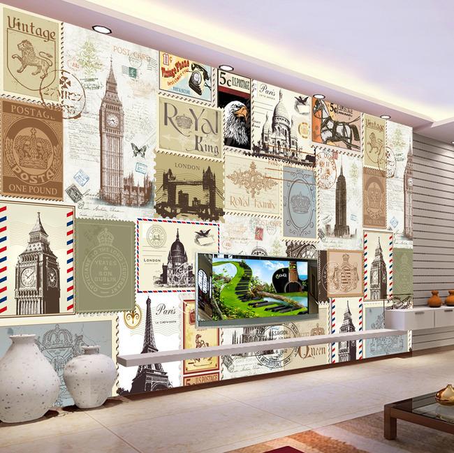 欧式邮票复古建筑背景墙壁画