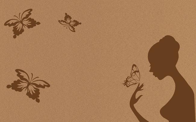 欧式壁画电视背景墙咖啡色蝴蝶墙壁画高清图片下载()