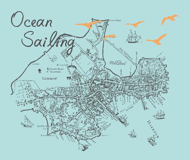 psd t恤设计图 短袖t恤 手绘 地图 远航 城市 俯视 大雁 鸟 船 英文
