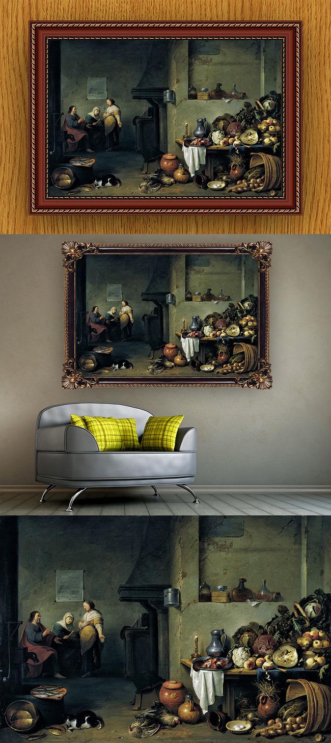 高清手绘欧式古典写实风格厨房妇人油画