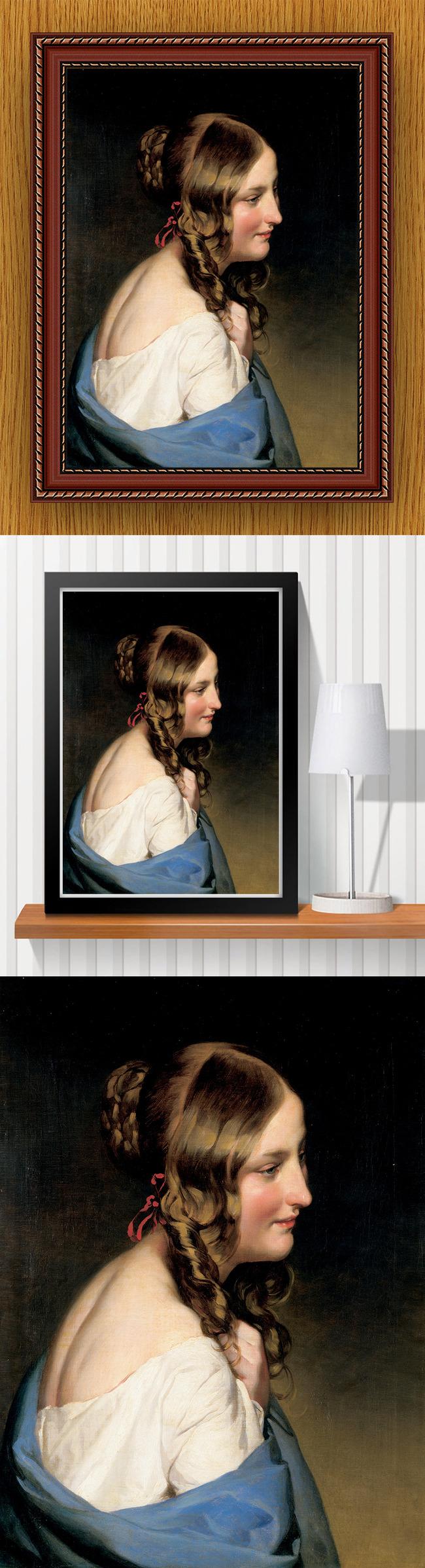 高清手绘欧式古典写实风格优雅少女油画