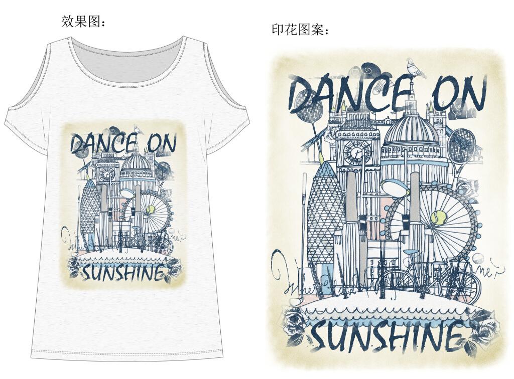 服装设计女装t恤手绘建筑运动印花设计图案
