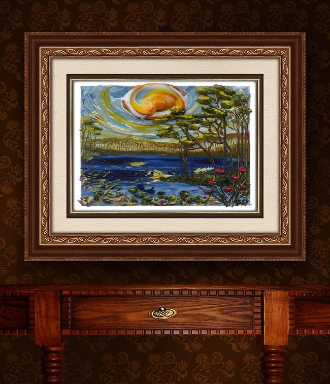 时尚现代手绘立体风景画油画装饰画
