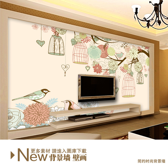 简约手绘花鸟墙纸电视背景墙壁画