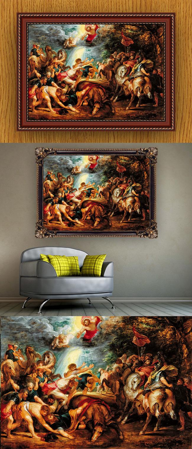 高清手绘欧式古典写实风格耶稣故事油画