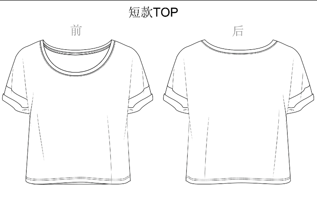 服装设计稿女t恤款式图效果图线描男t