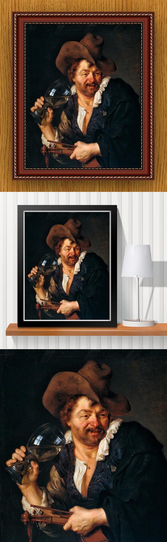 高清手绘欧式古典写实风格喝酒男子油画