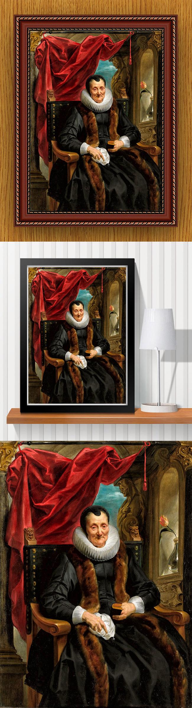 高清手绘欧式古典写实风格庄严老妇油画高清图片下载