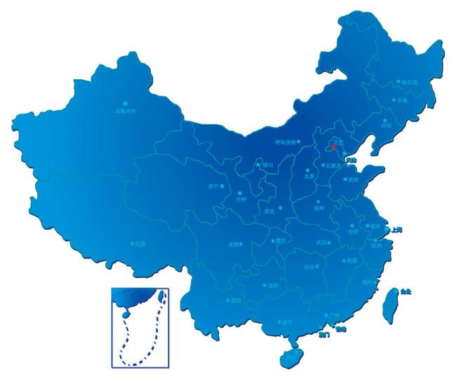蓝色经典中国地图