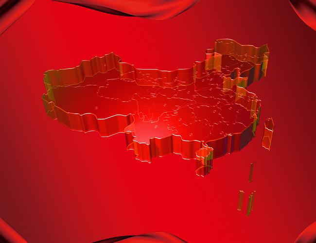 3d红色经典中国地图
