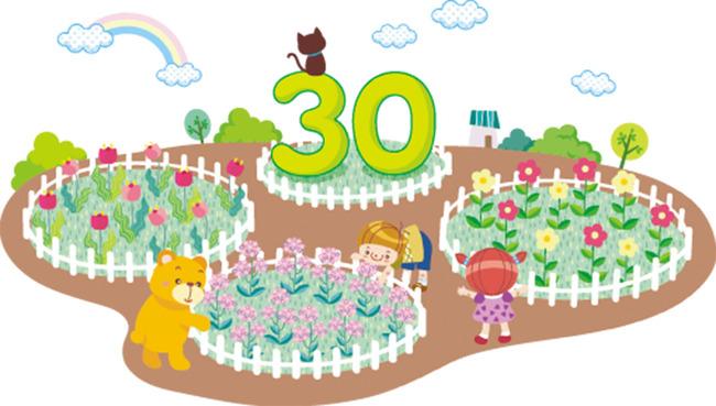 文明礼仪卡通 环保科技画 儿童画背景墙 早教 花园 花圃 数字