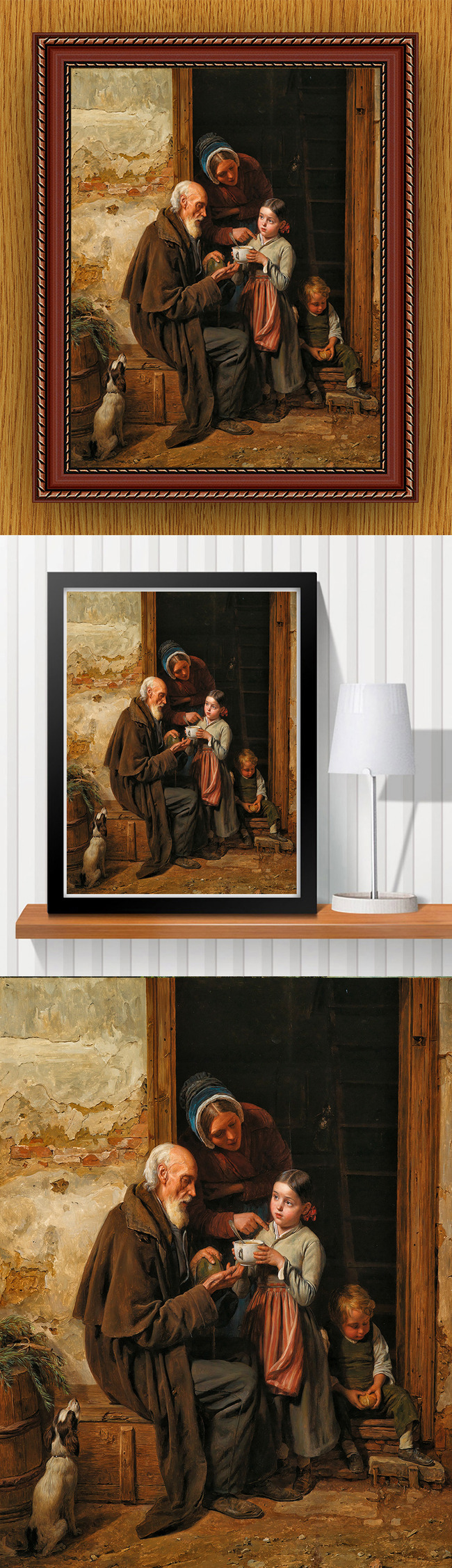 高清手绘欧式古典写实风格全家福油画