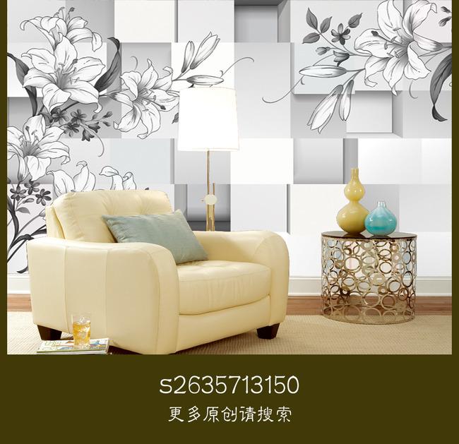 3d立体方块黑白立体手绘花电视背景