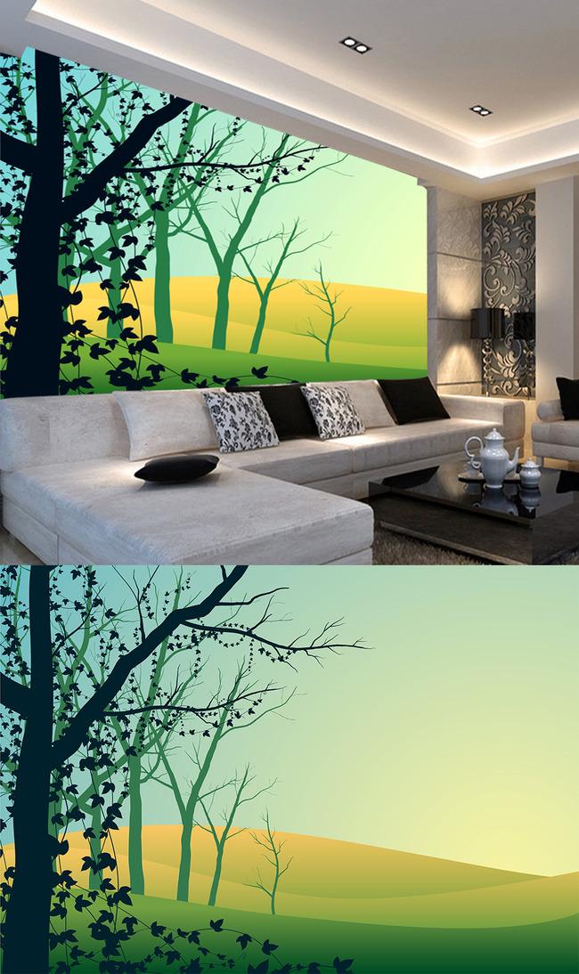 现代简约绿树客厅背景墙
