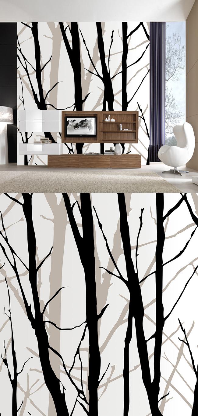 简约树木现代客厅背景墙