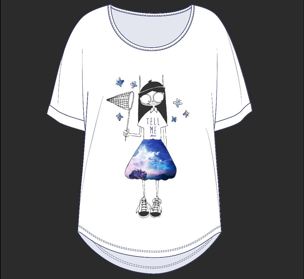 服装设计稿图案款式效果图素材t恤蝴蝶插画