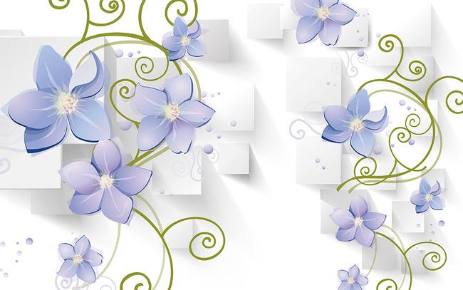 墙纸 壁纸 3d背景 立体 藤蔓 紫藤花 简约 抽象 花朵 时尚 方块 紫花