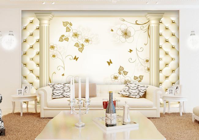 3d立体欧式花纹电视背景墙图片