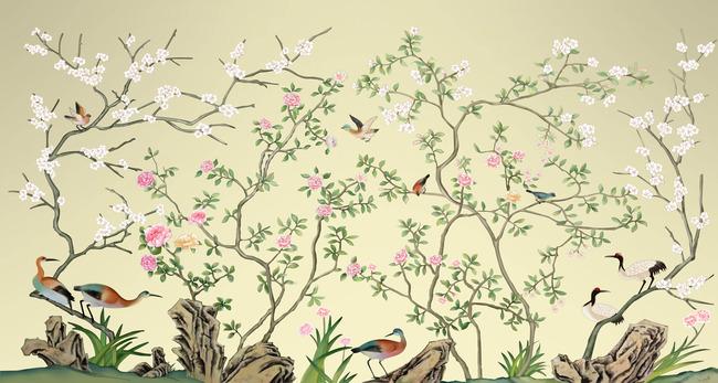 抽象手绘线条花鸟