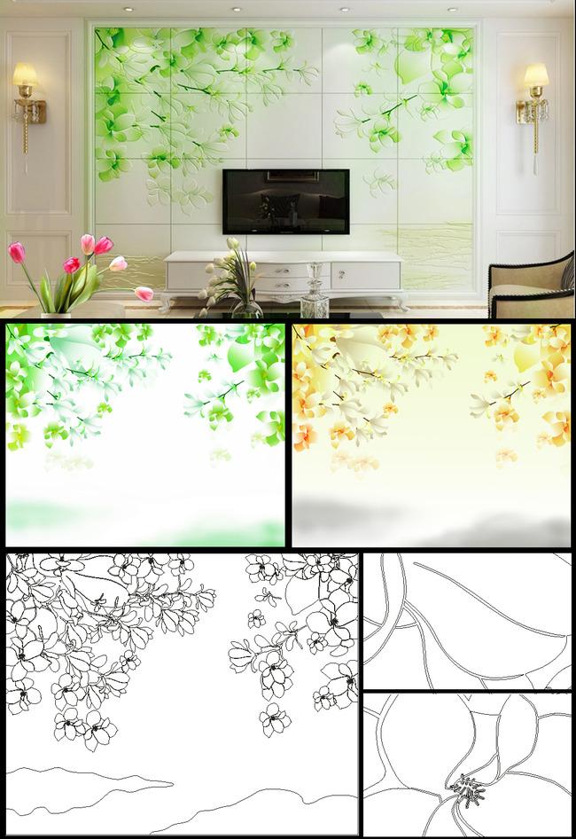 瓷砖背景墙 雕刻 线描 矢量 刻绘 线条 精雕 黑白图 兰蔻 金兰蔻 玉兰