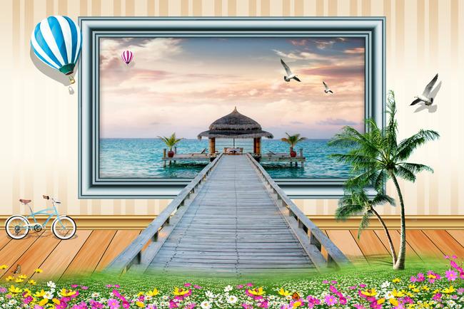 椰树海景电视背景墙