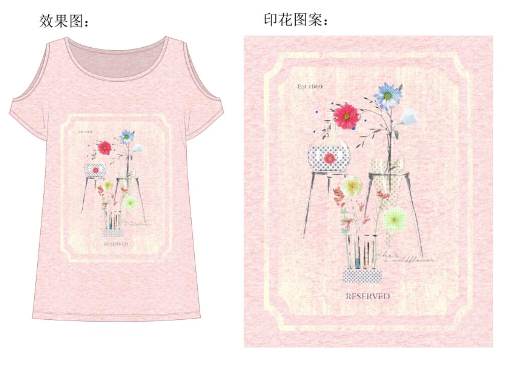 服装设计女装t恤手绘花瓶设计图案