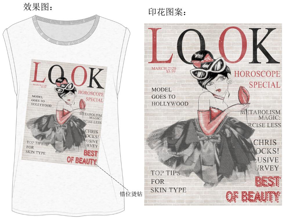 服装设计女装t恤手绘海报设计图案