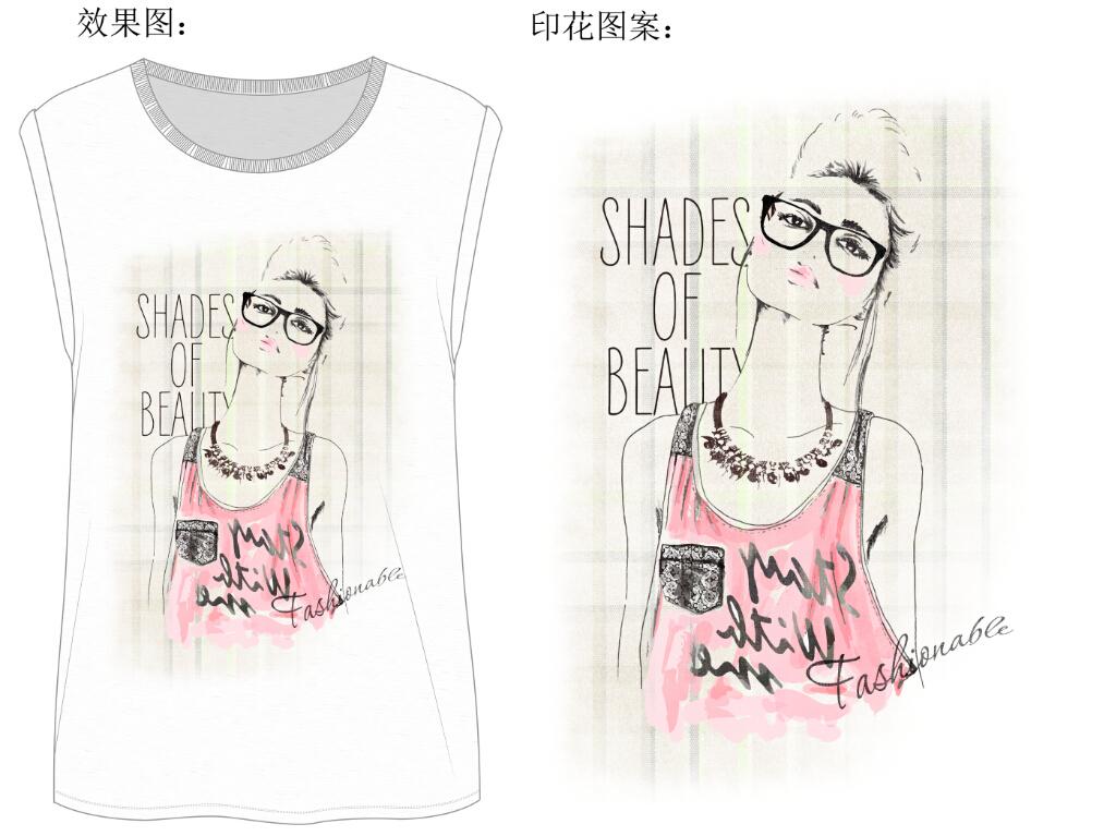 服装设计女装t恤手绘眼镜美女设计图案