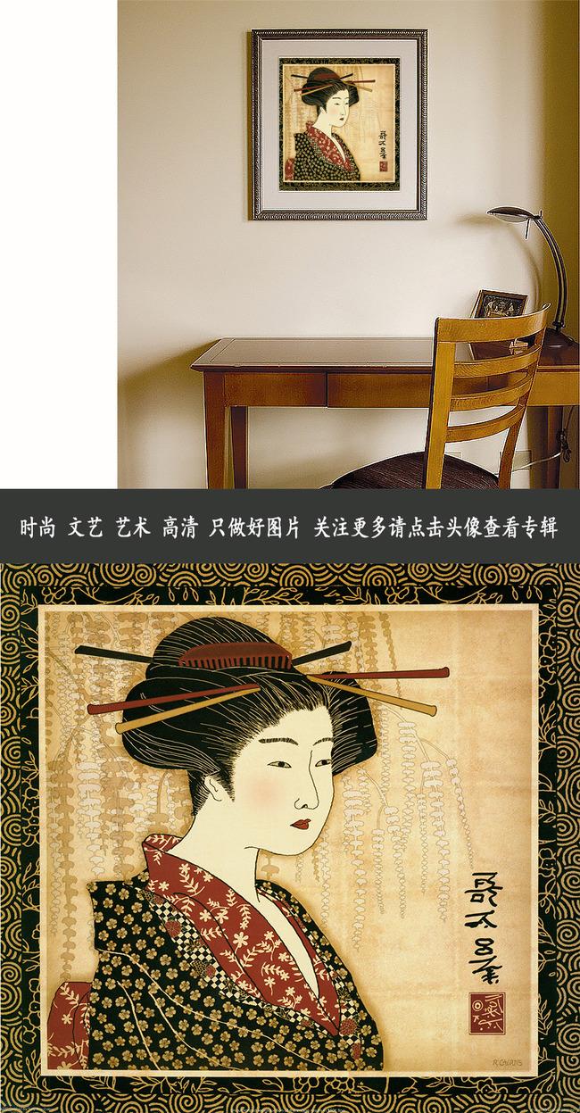 日式和服人物油画