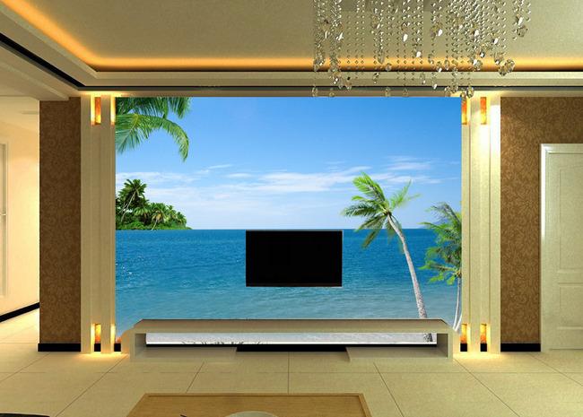 大海椰树海滩电视背景墙