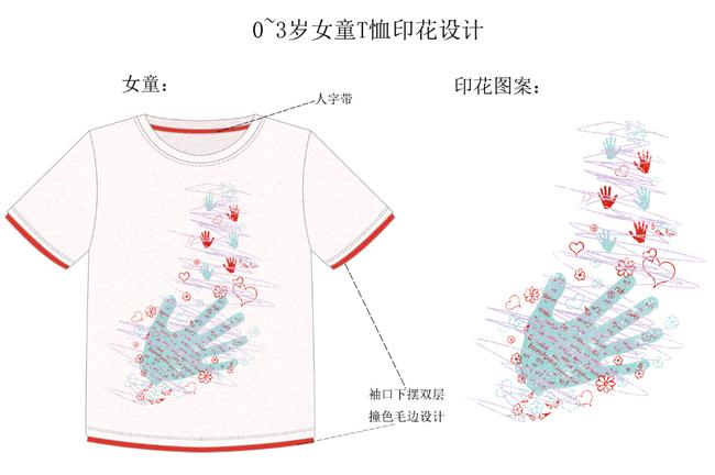 服装设计童装t恤可爱手掌设计图案
