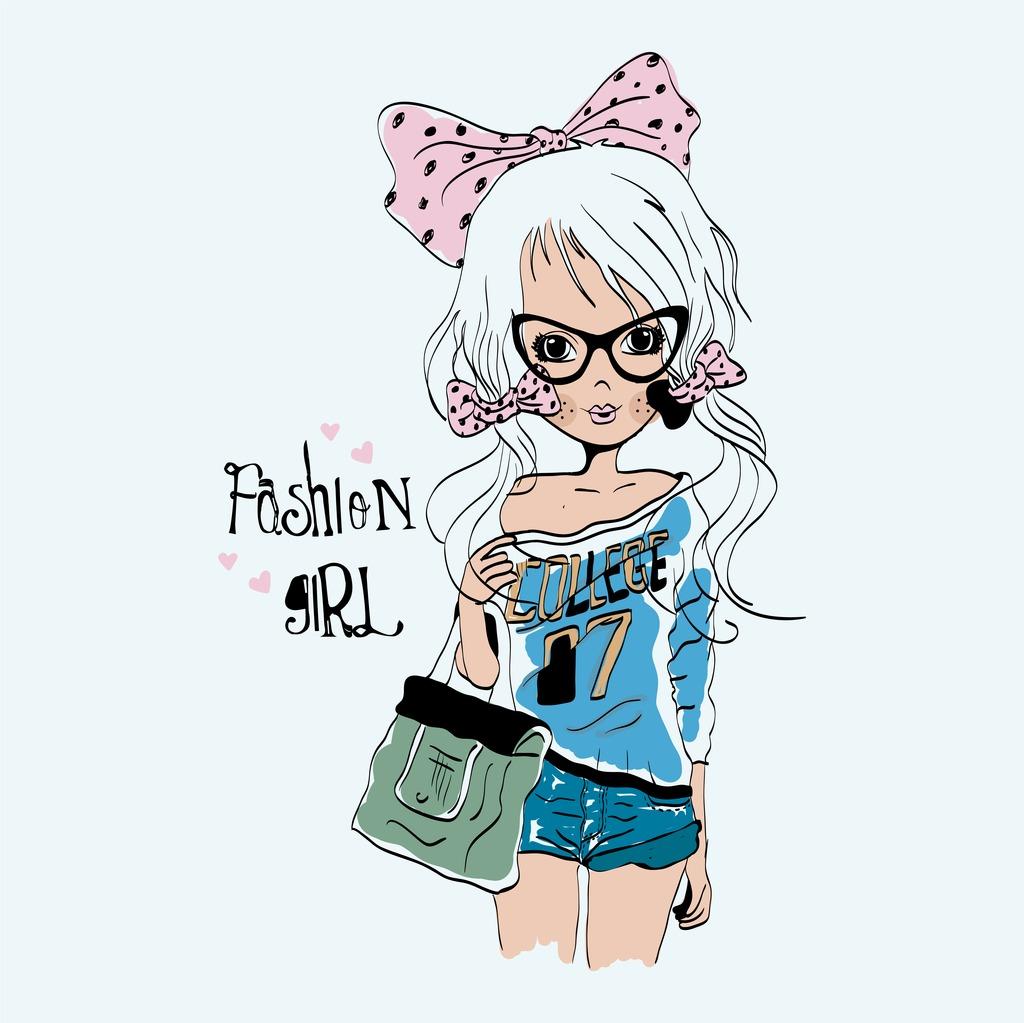 服装设计 面料印花设计 花纹图形设计 > 时尚少女插画手绘卡通少女